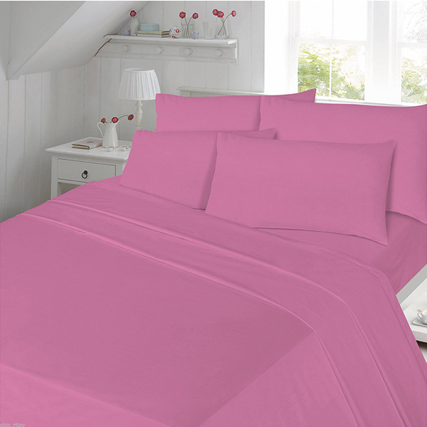 Flannel Fitted Sheet Plain Dyed Colours Variety De Lavish