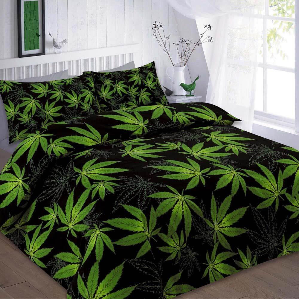 Cannabis Leaf Reversible Duvet Cover Set Wholesale