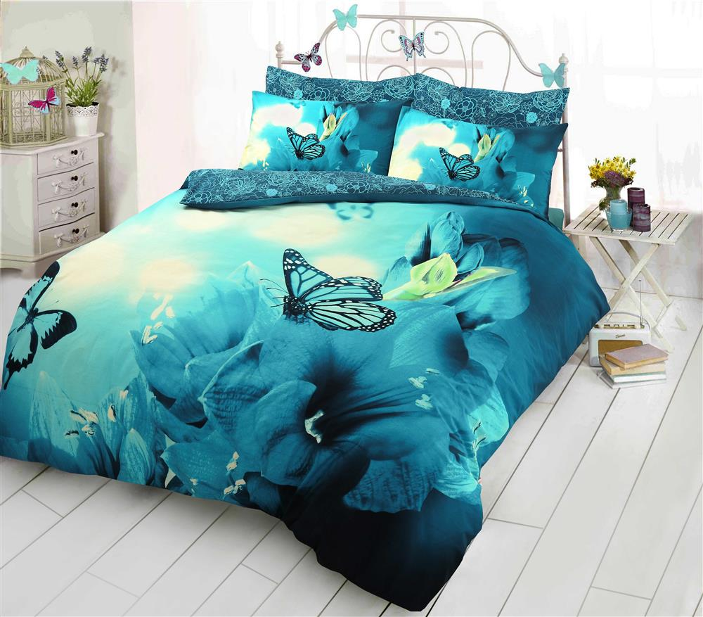 King Size Bed Butterfly Flutter Pink Fuchsia Duvet Bedding Set With Pillow Cases