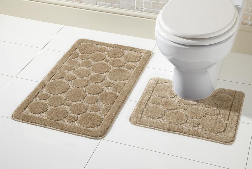 2 Piece Non Slip Cali Bath Mat Set And Pedestal Toilet Mat
