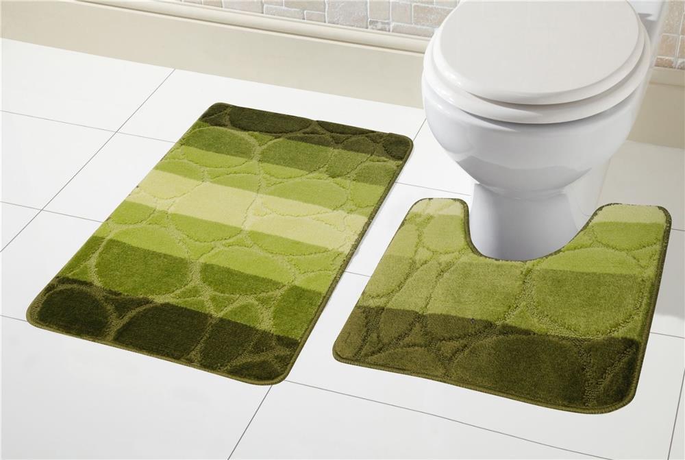 2 Piece Non Slip Kaya Bath Mat Set And Pedestal Toilet Mat