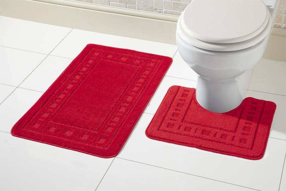 2 Piece Non Slip Miami Bath Mat Set And Pedestal Toilet Mat De Lavish