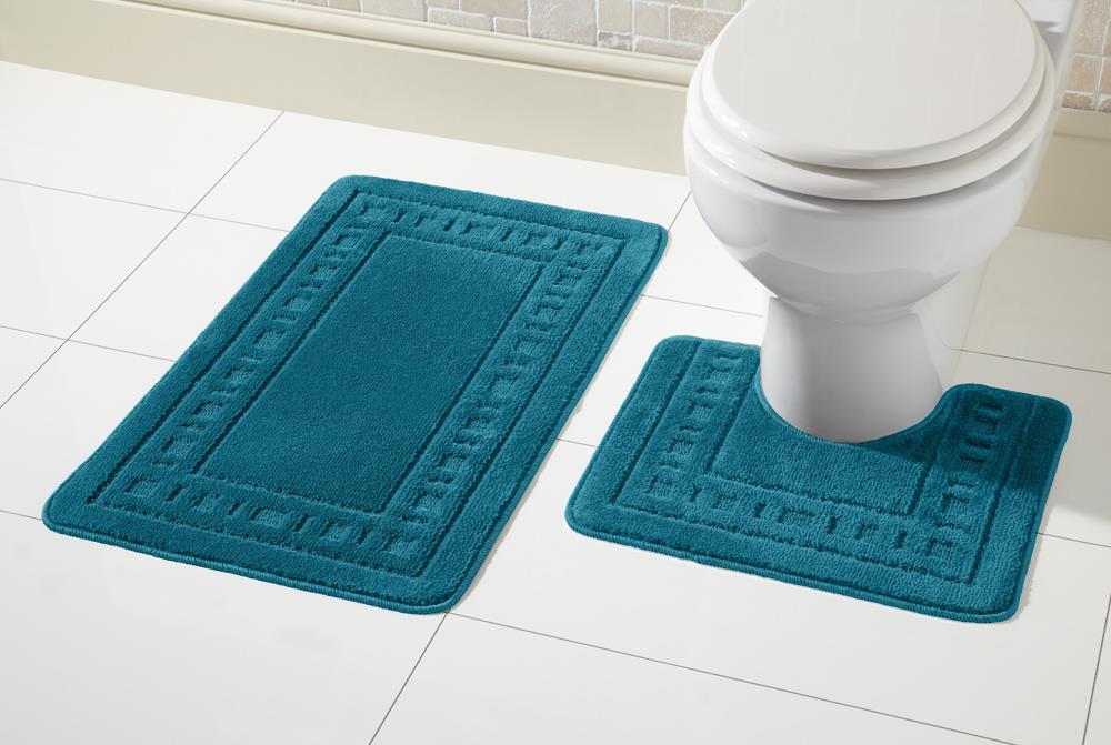 2 Piece Non Slip Miami Bath Mat Set And Pedestal Toilet