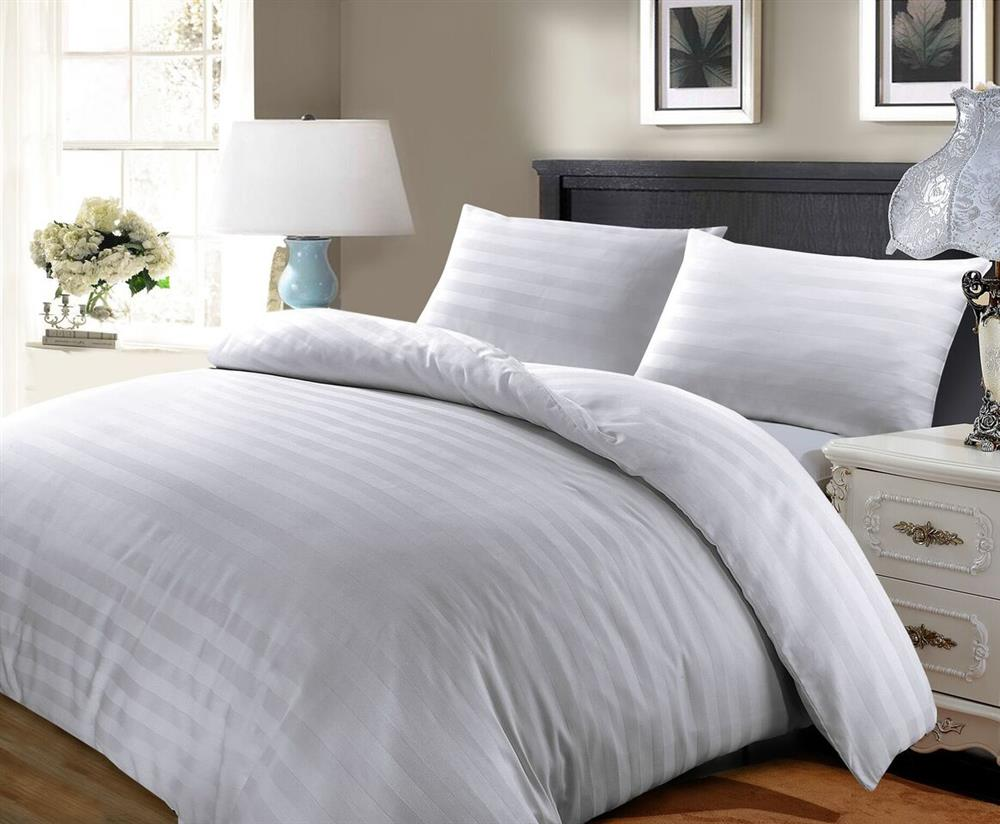 Satin Stripe Duvet Cover Egyptian Cotton Bedding Set