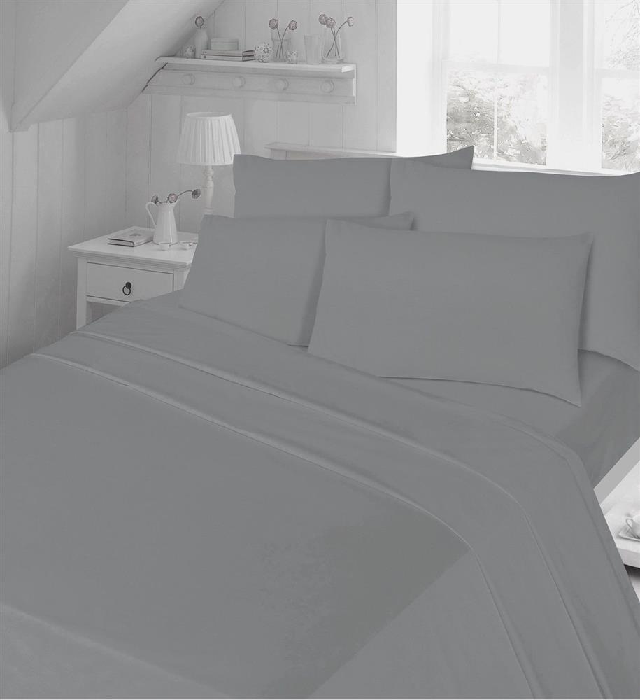 T200 Egyptian Cotton Bedding Fitted Sheets Grey