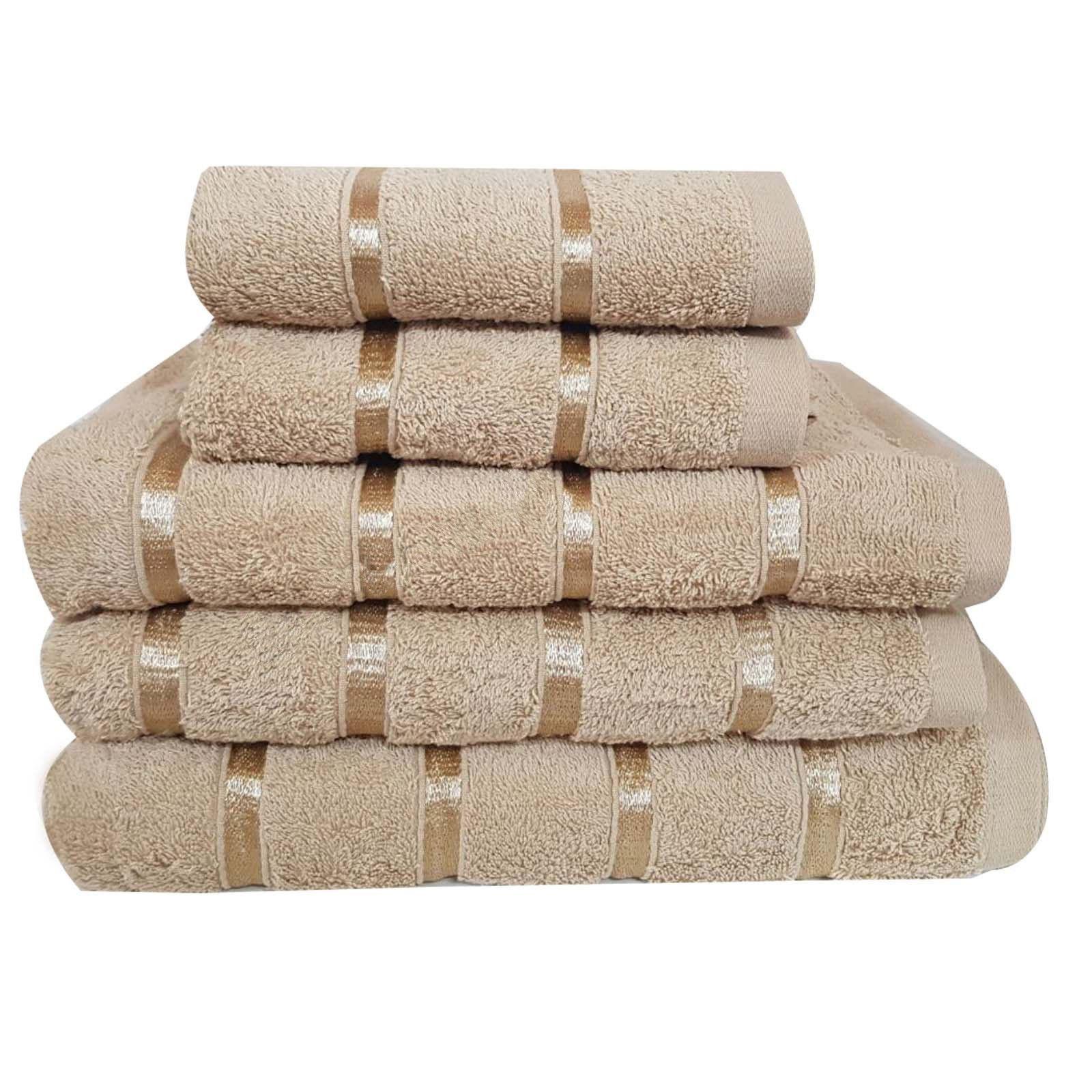 5 Piece Egyptian Cotton Towel Set Satin Stripe 500 Gsm