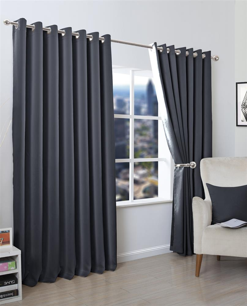 Plain Blackout Eyelet Curtains Set Luxury Curtains For Living Room Bedroom