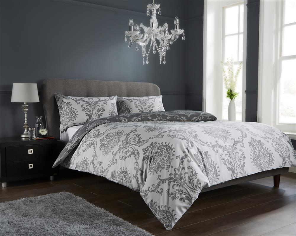 Printed Reversible Duvet Cover Royal Damask Bedding Set