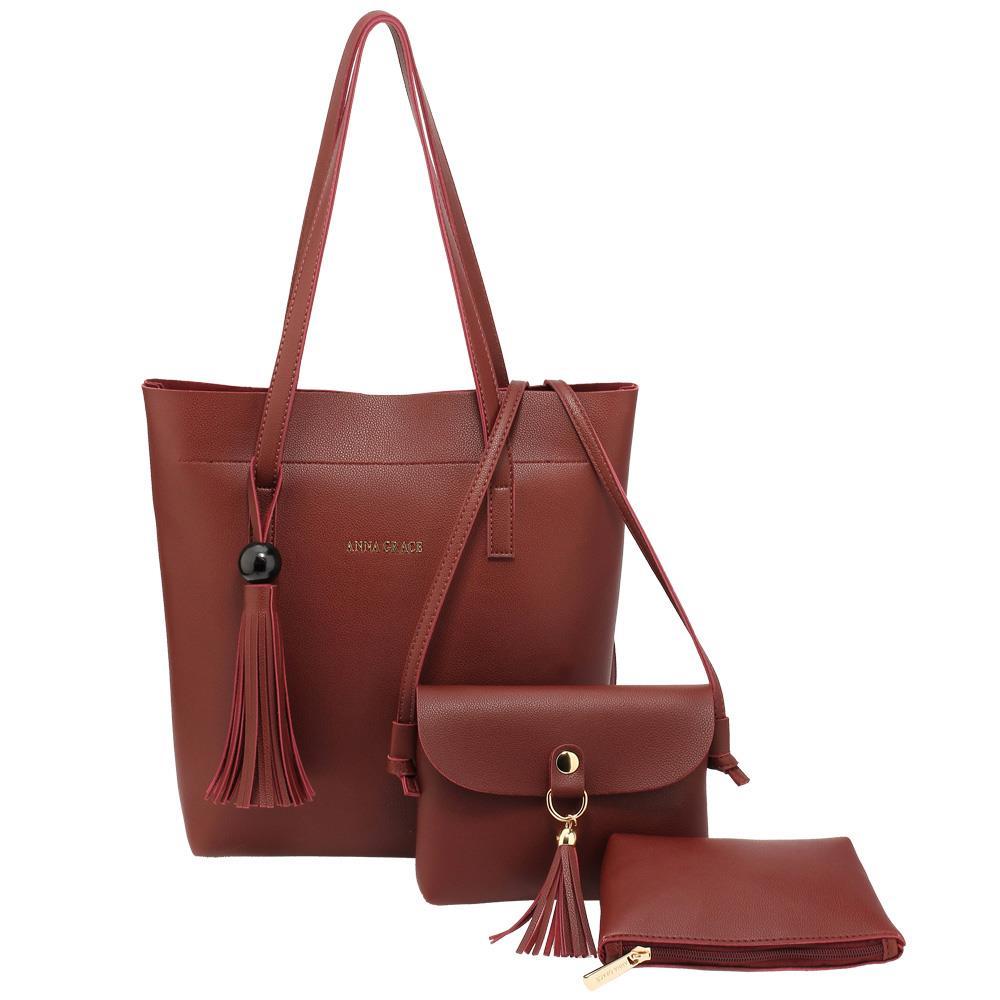3 Pieces Handbags Set Shoulder Faux Leather Handbag Set