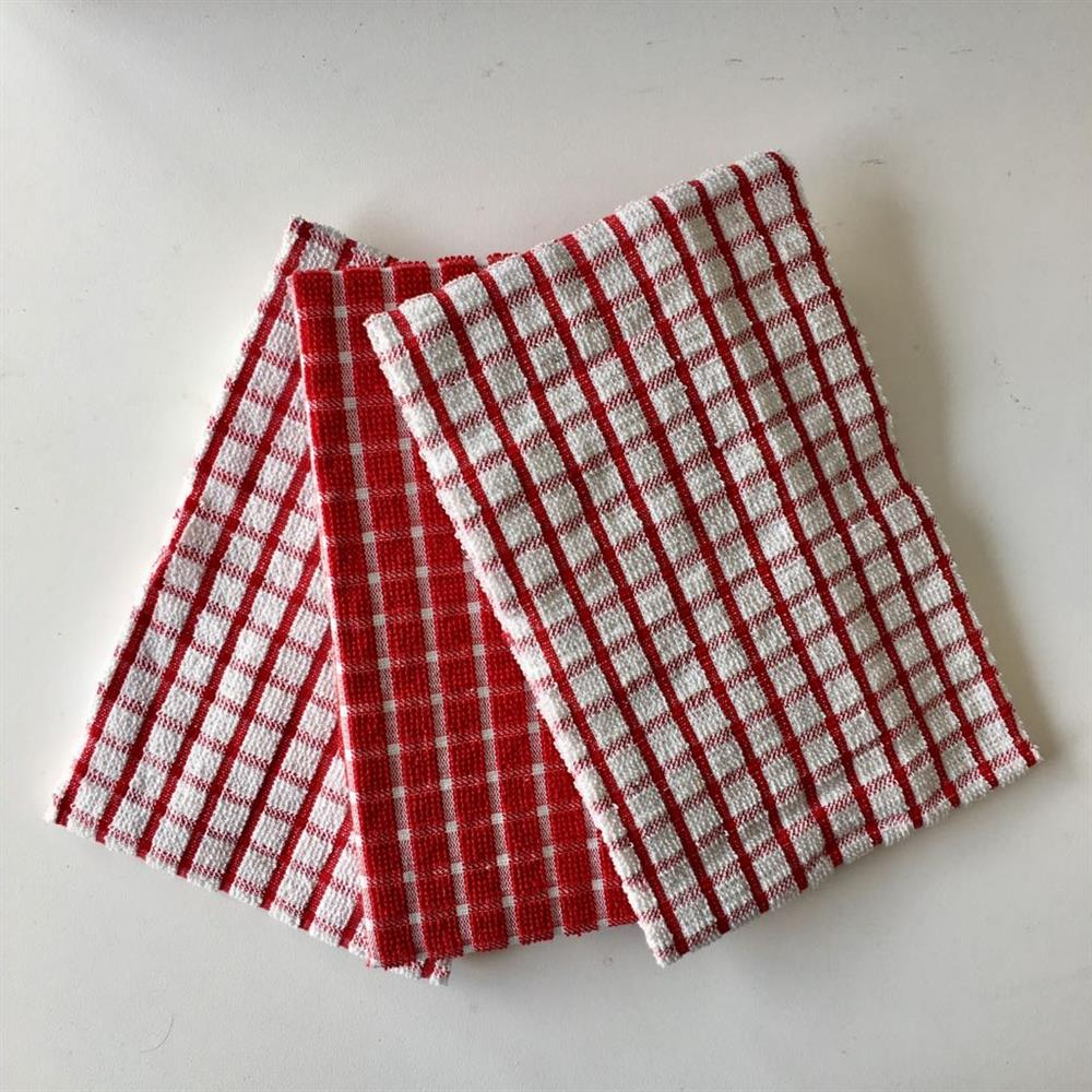 Highly Absorbent Terry Check Tea Towels Dish Cloth 3