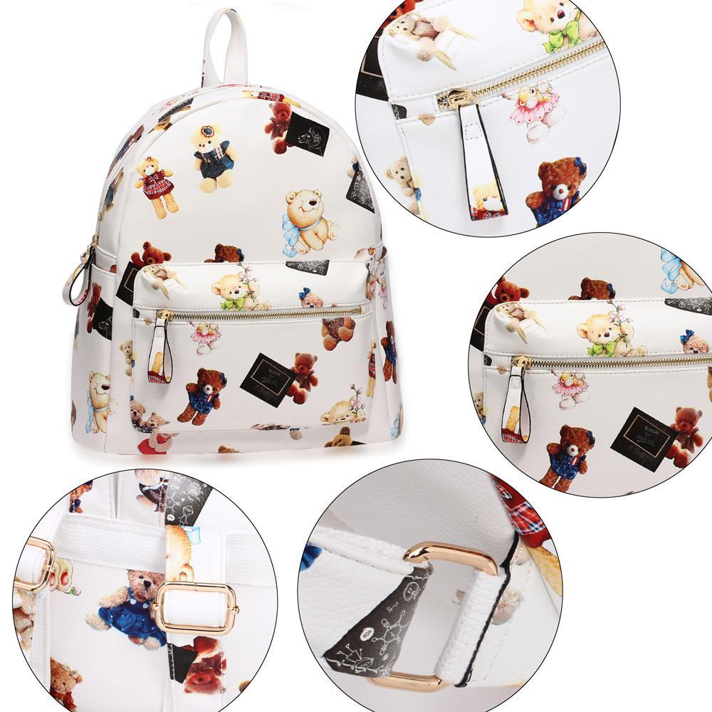 Ag00186e Teddy Bear Print Backpack School Bag De Lavish