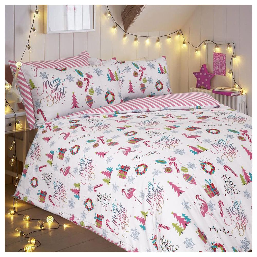 Christmas Bedding.Christmas Merry And Bright Duvet Cover Set With Pillow Cases
