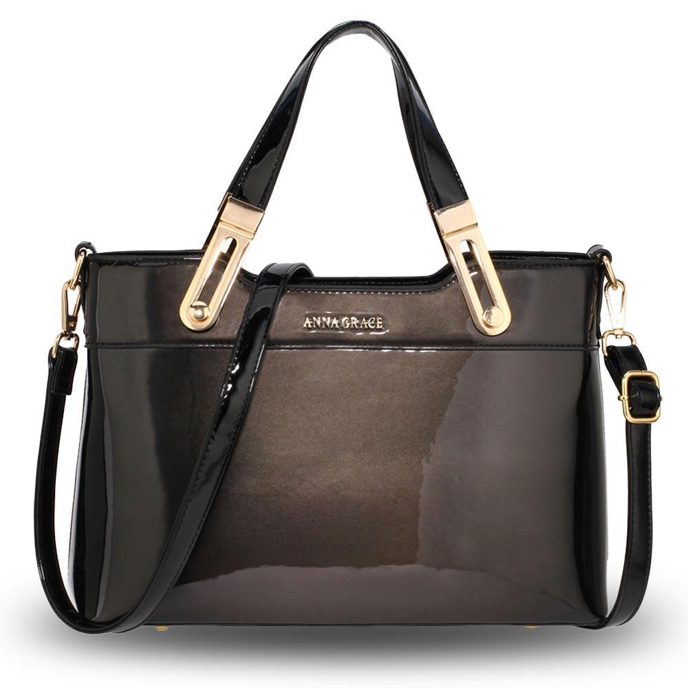 Ag00678 Two Tone Patent Shoulder Bag De Lavish