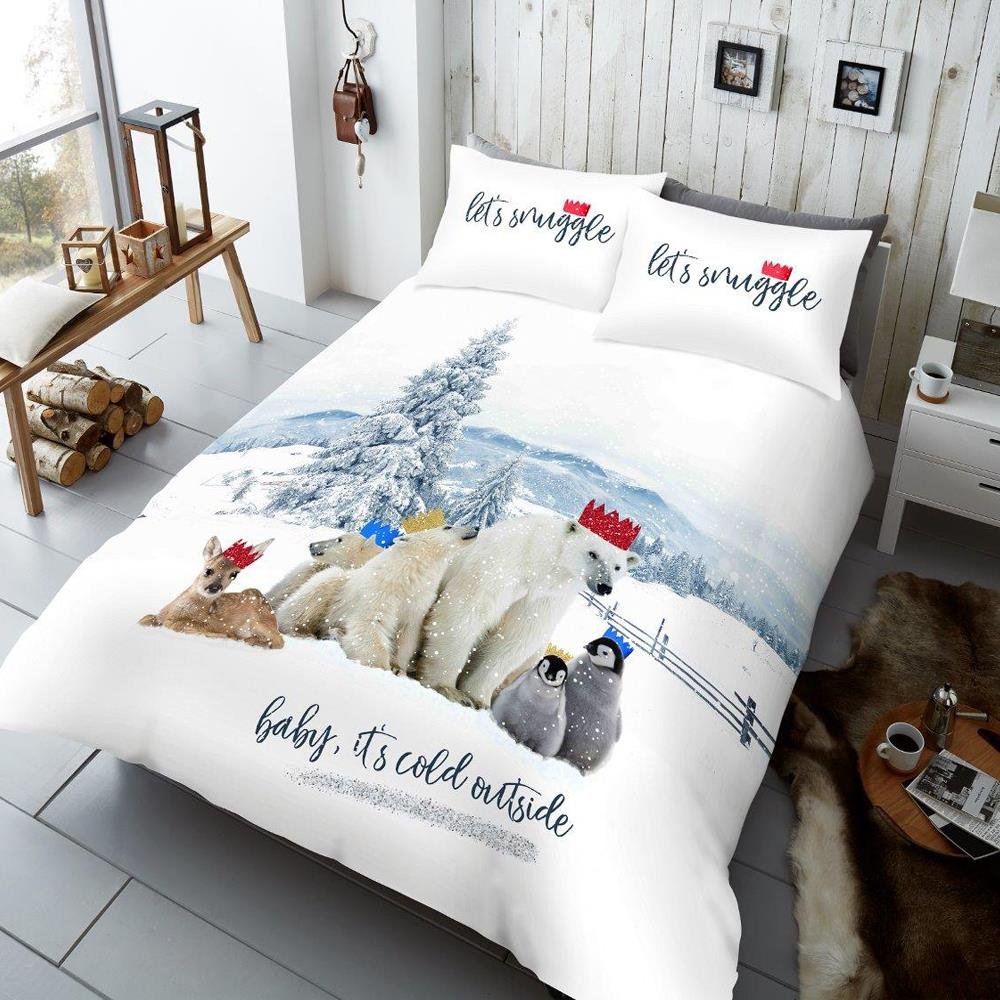 Christmas Bedding.Winter Chums Duvet Cover Set With Pillow Cases Christmas Bedding