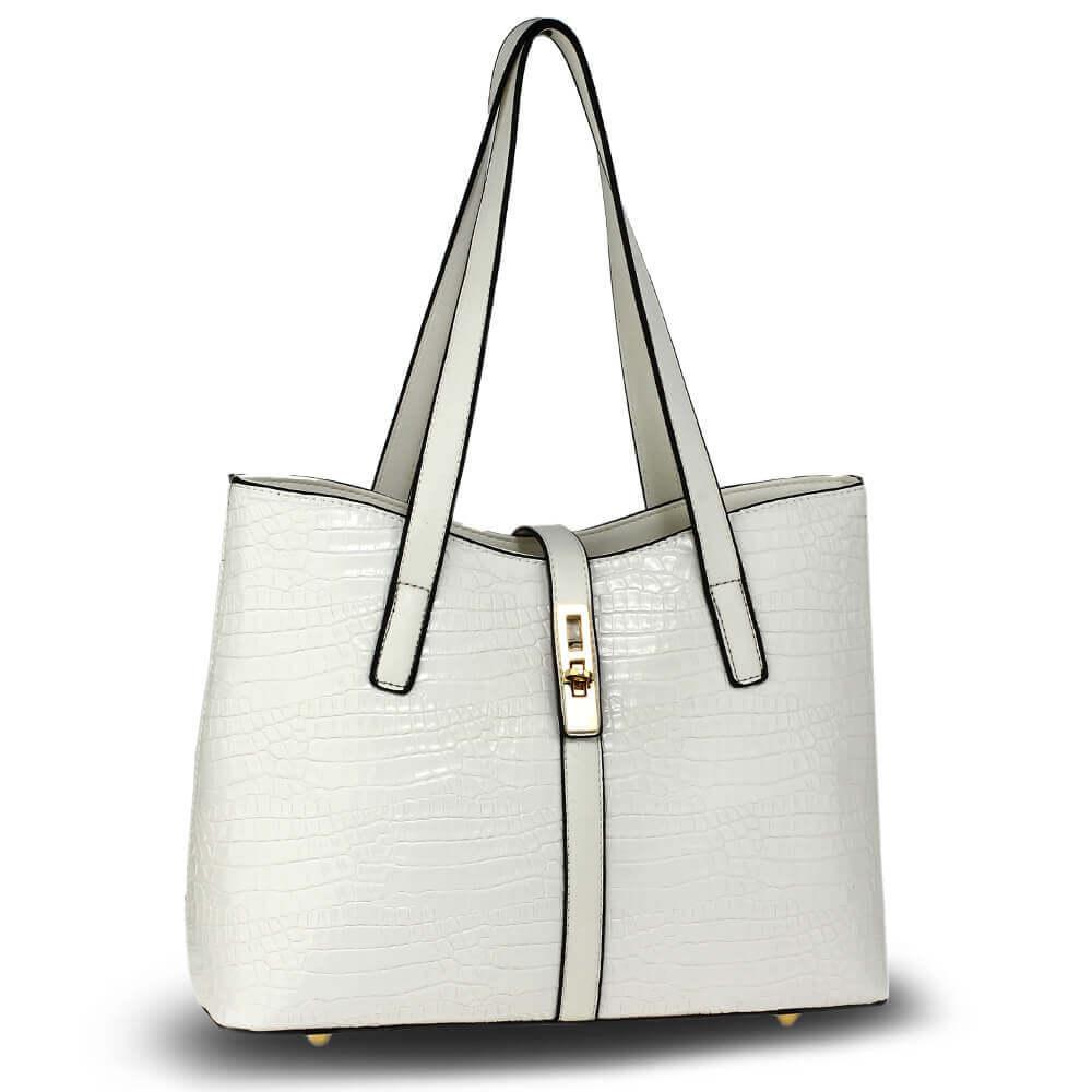 Croc Print Tote Handbag Leather Women