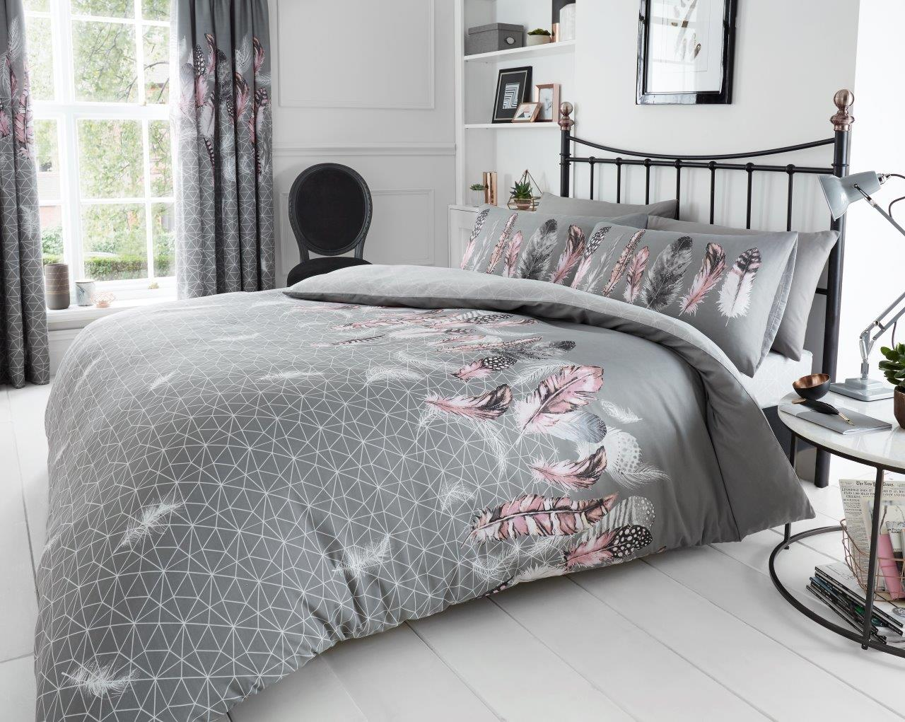 Feathers Print Duvet Cover Set Designer Bed With Pillowcases De