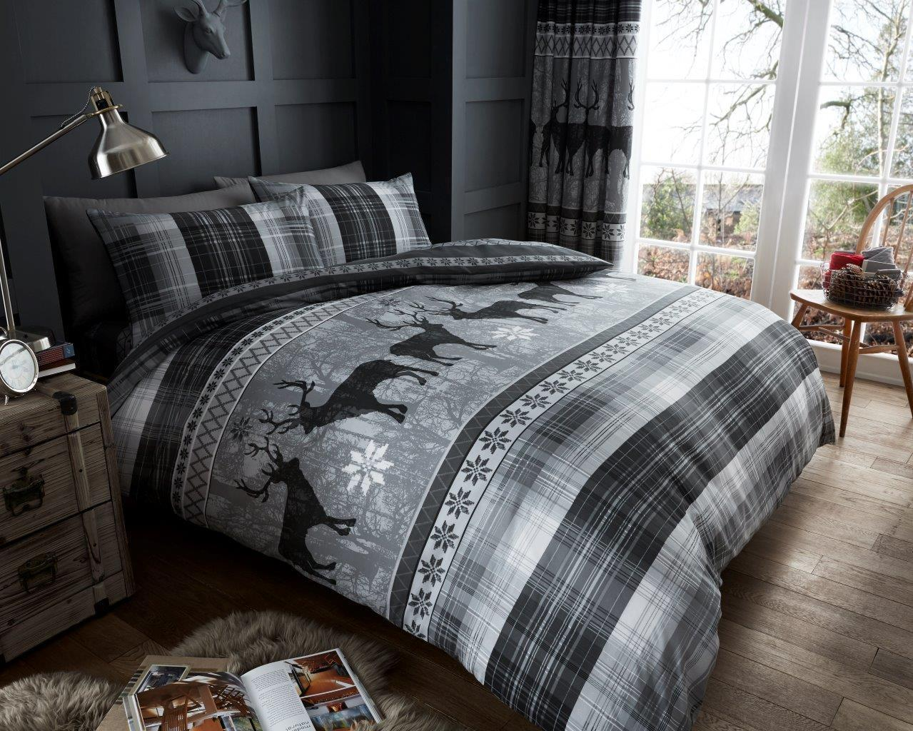 Christmas XMAS Luxury Heritage Stag Duvet Cover Sets Reversible Bedding Sets