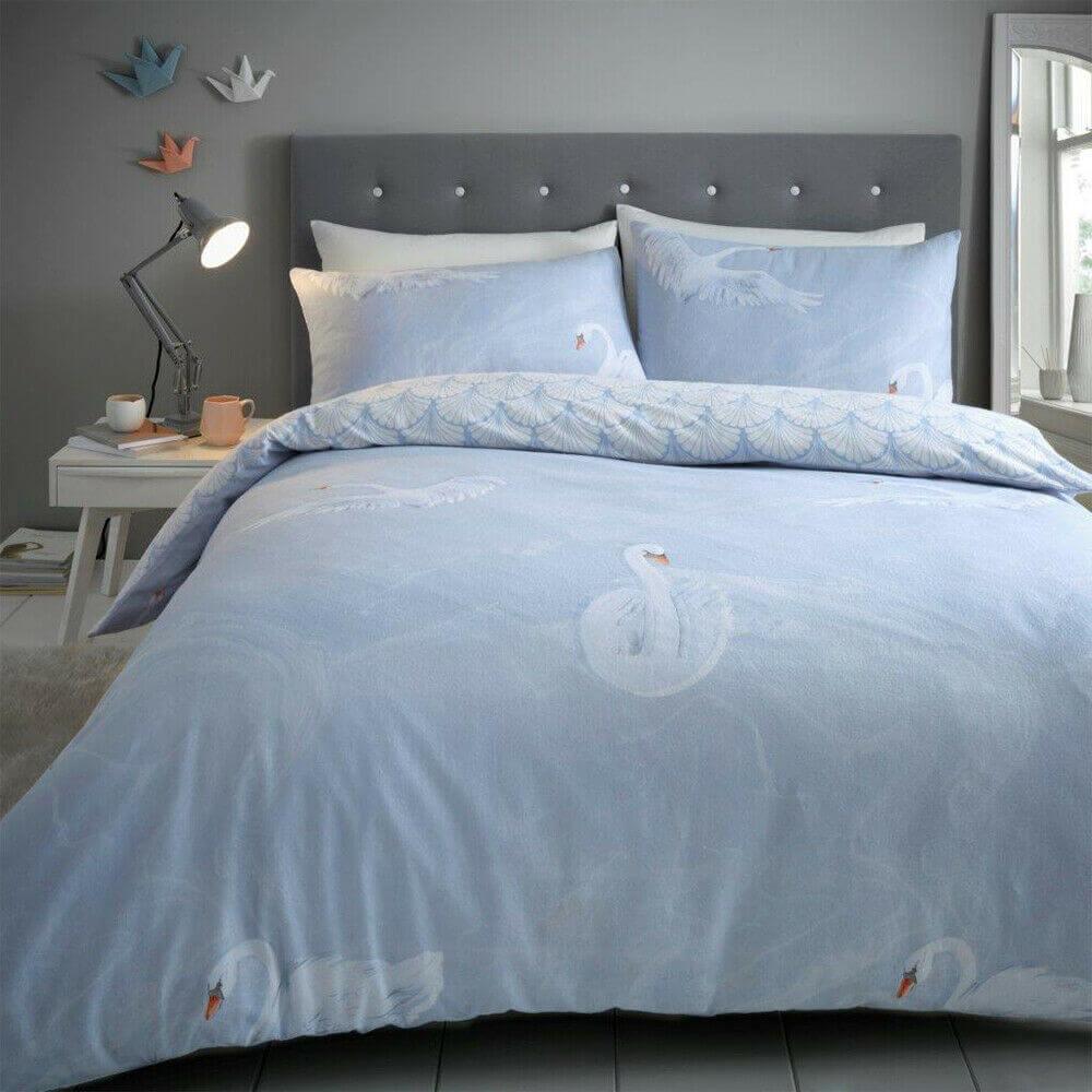 Flannelette Duvet Set Brushed Cotton Marble Swan Bedding